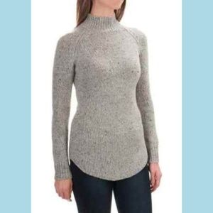 CYNTHIA ROWLEY Donegal Mock Neck Gray Sweater S